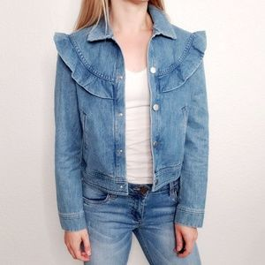 & Other Stories Frilled Ruffle Denim Jean Jacket 2